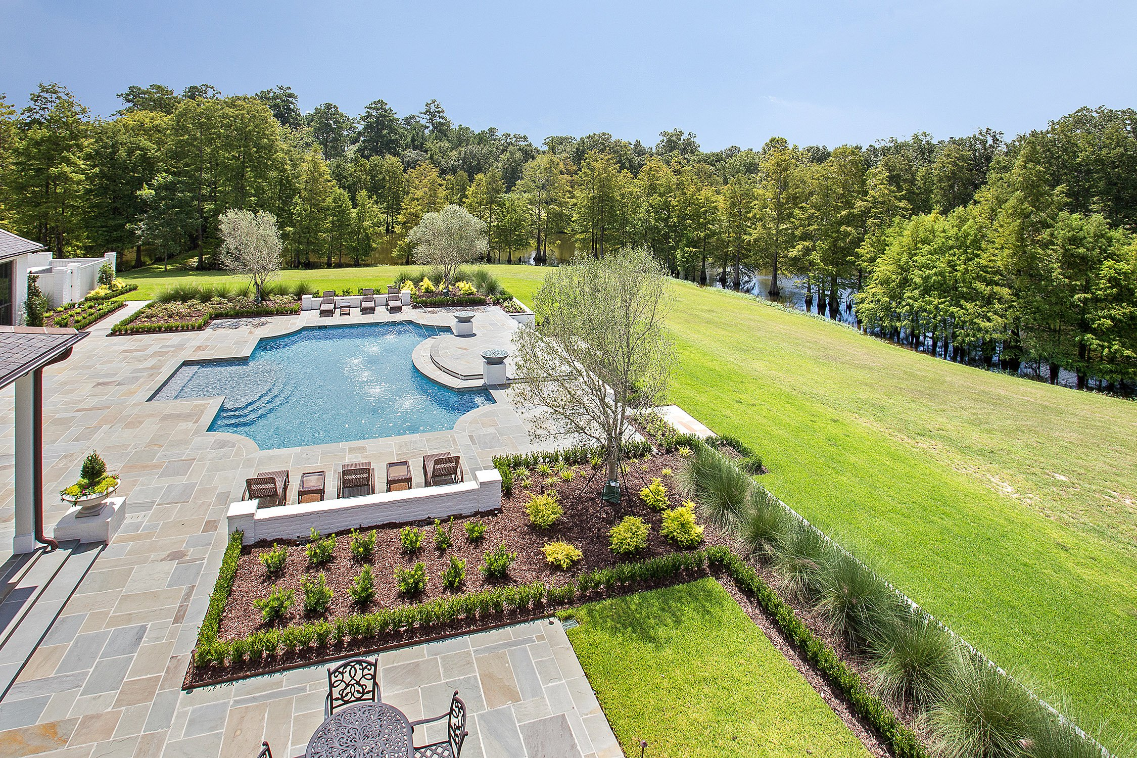 overview of gunite pool with landscape