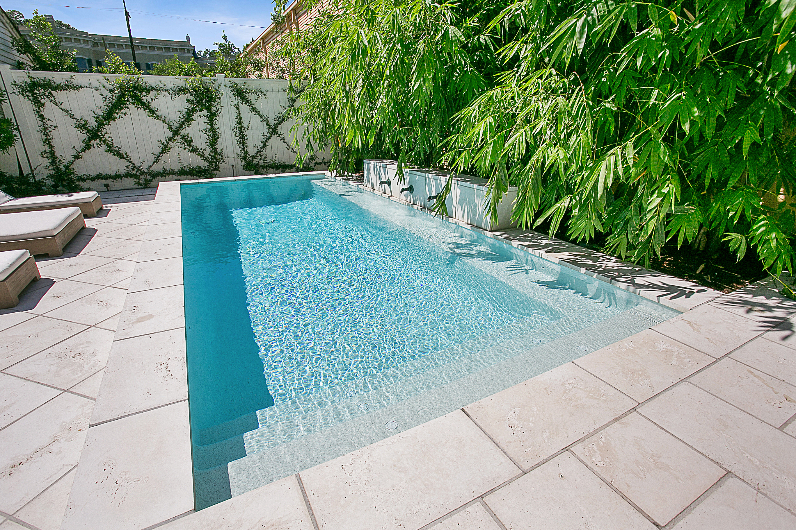 New Orleans cocktail pool with wetedge plaster