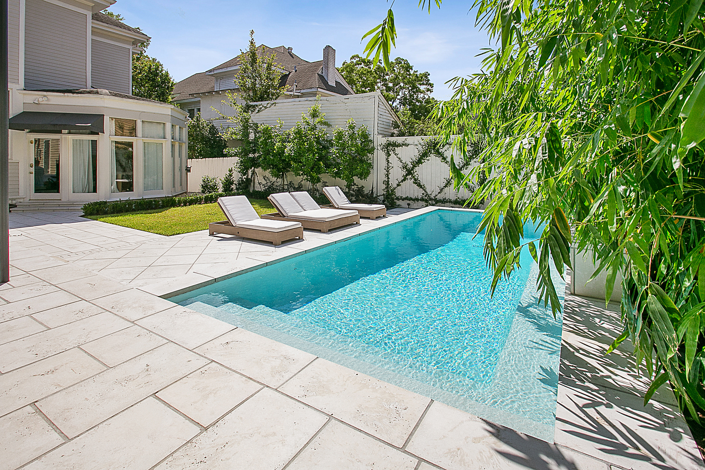 New Orleans custom cocktail pool and firerock pavers
