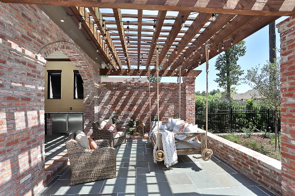 Pergola next to swimming pool
