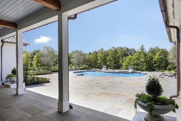 view of pool from house