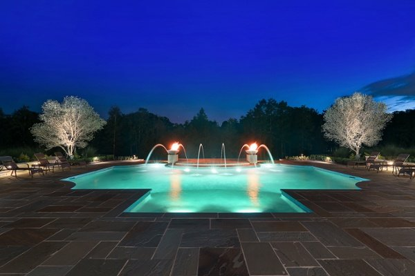night shot of custom pool