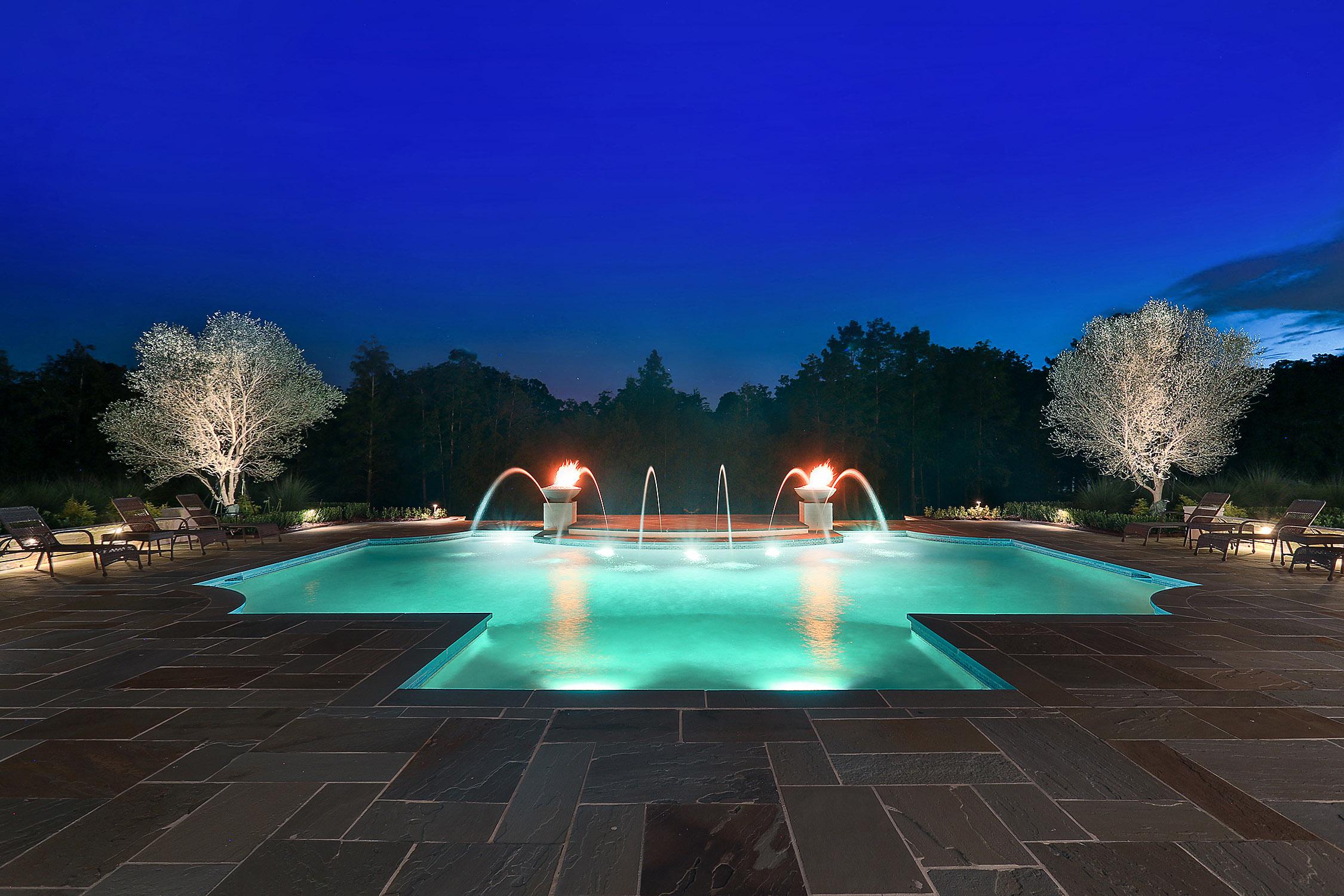 night shot of custom pool