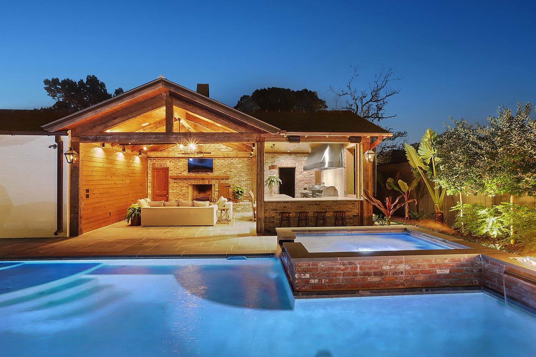 pool and hot tub at night
