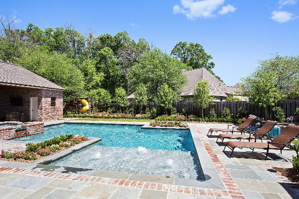 Gunite Pool With Waterfall Baton Rouge Pools Baton Rouge