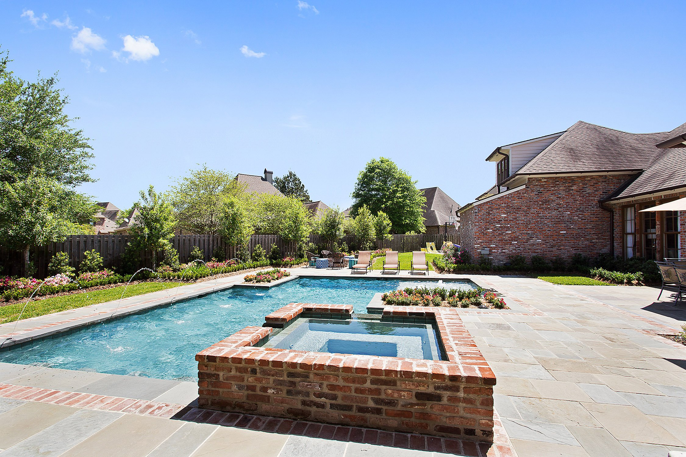 gunite pool with brick